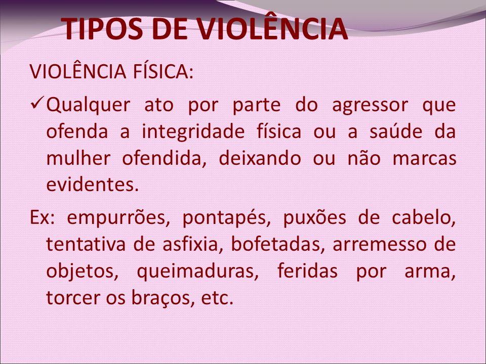 TIPOS DE VIOLÊNCIA VIOLÊNCIA FÍSICA: