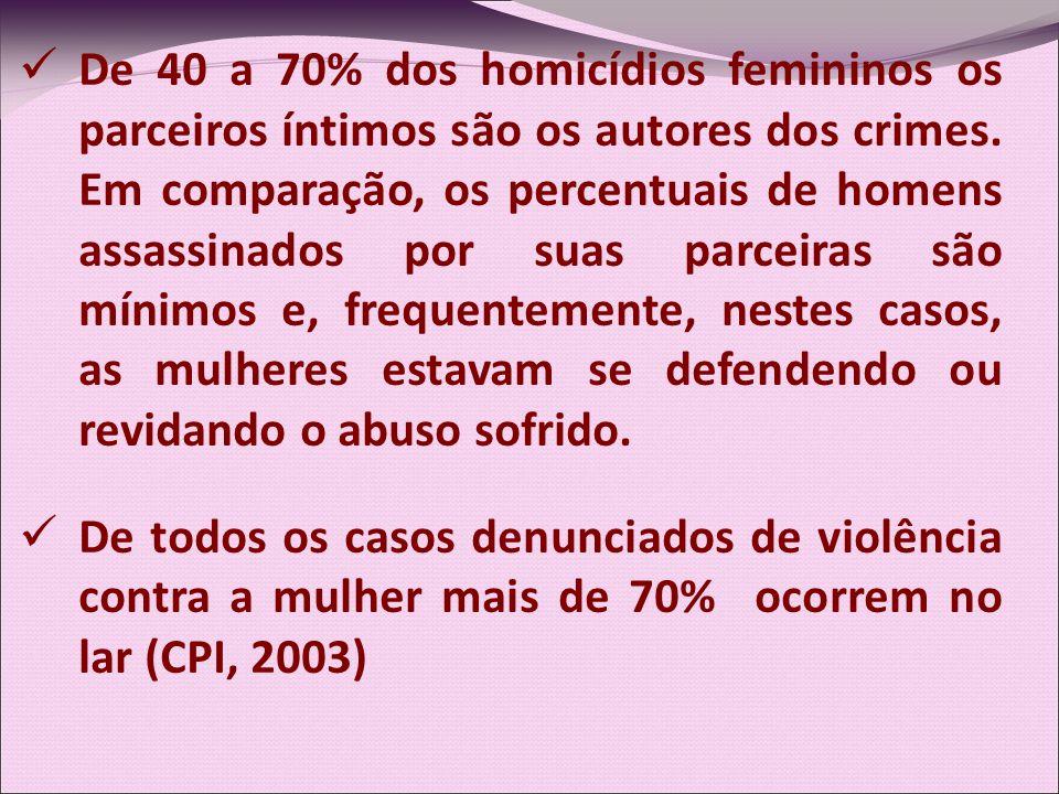 De 40 a 70% dos homicídios femininos os parceiros íntimos são os autores dos crimes. Em comparação, os percentuais de homens assassinados por suas parceiras são mínimos e, frequentemente, nestes casos, as mulheres estavam se defendendo ou revidando o abuso sofrido.