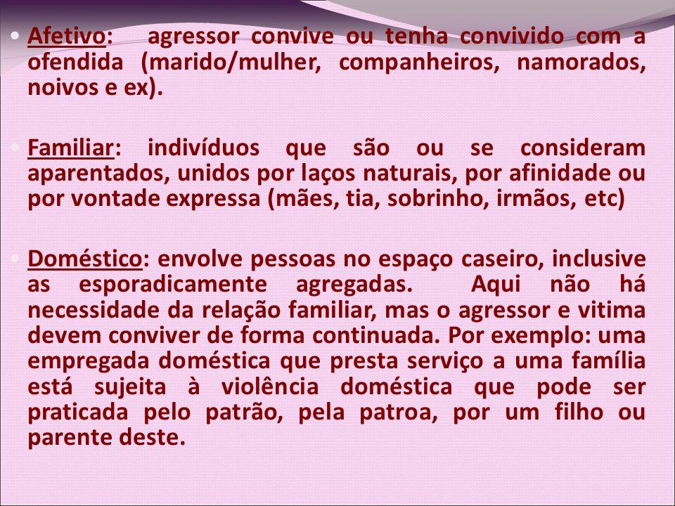 Afetivo: agressor convive ou tenha convivido com a ofendida (marido/mulher, companheiros, namorados, noivos e ex).