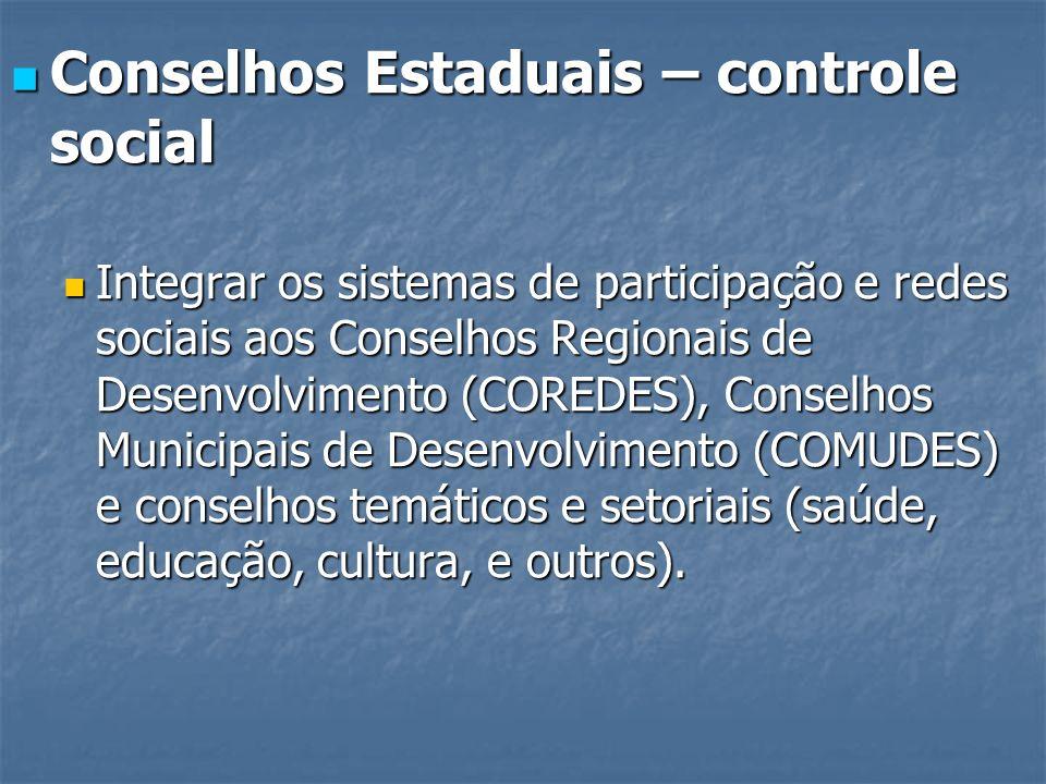 Conselhos Estaduais – controle social