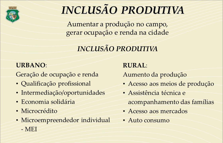 INCLUSÃO PRODUTIVA Aumentar a produção no campo,