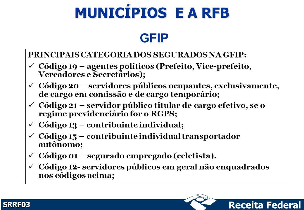 MUNICÍPIOS E A RFB GFIP PRINCIPAIS CATEGORIA DOS SEGURADOS NA GFIP: