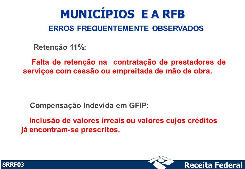 MUNICÍPIOS E A RFB ERROS FREQUENTEMENTE OBSERVADOS Retenção 11%: