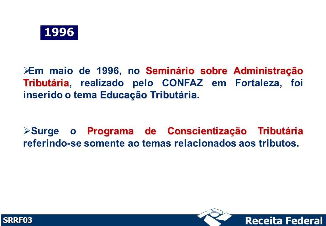 1996 Em maio de 1996, no Seminário sobre Administração Tributária, realizado pelo CONFAZ em Fortaleza, foi inserido o tema Educação Tributária.