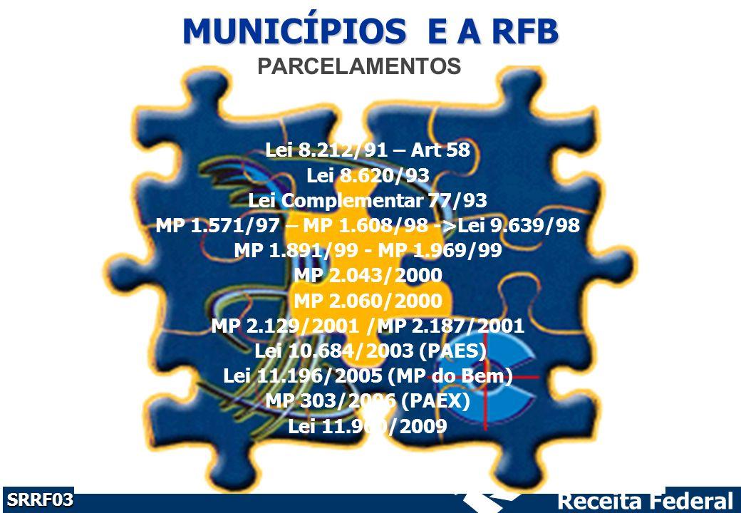 MUNICÍPIOS E A RFB PARCELAMENTOS Lei 8.212/91 – Art 58 Lei 8.620/93