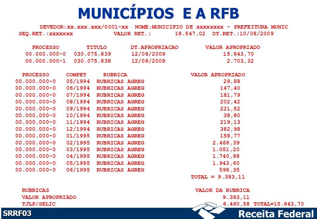 MUNICÍPIOS E A RFB DEVEDOR:xx.xxx.xxx/0001-xx NOME:MUNICIPIO DE xxxxxxxx - PREFEITURA MUNIC.