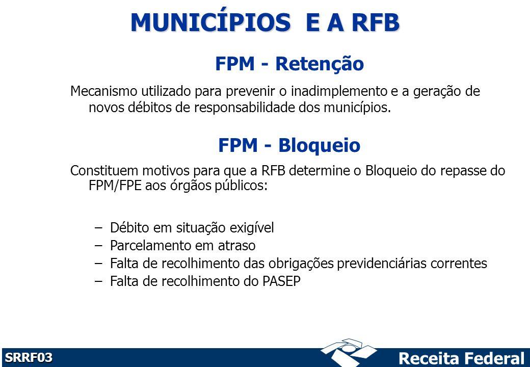 MUNICÍPIOS E A RFB FPM - Retenção FPM - Bloqueio