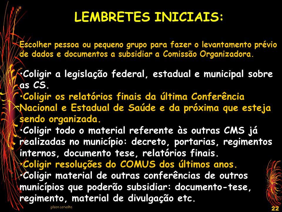 LEMBRETES INICIAIS: Escolher pessoa ou pequeno grupo para fazer o levantamento prévio de dados e documentos a subsidiar a Comissão Organizadora.