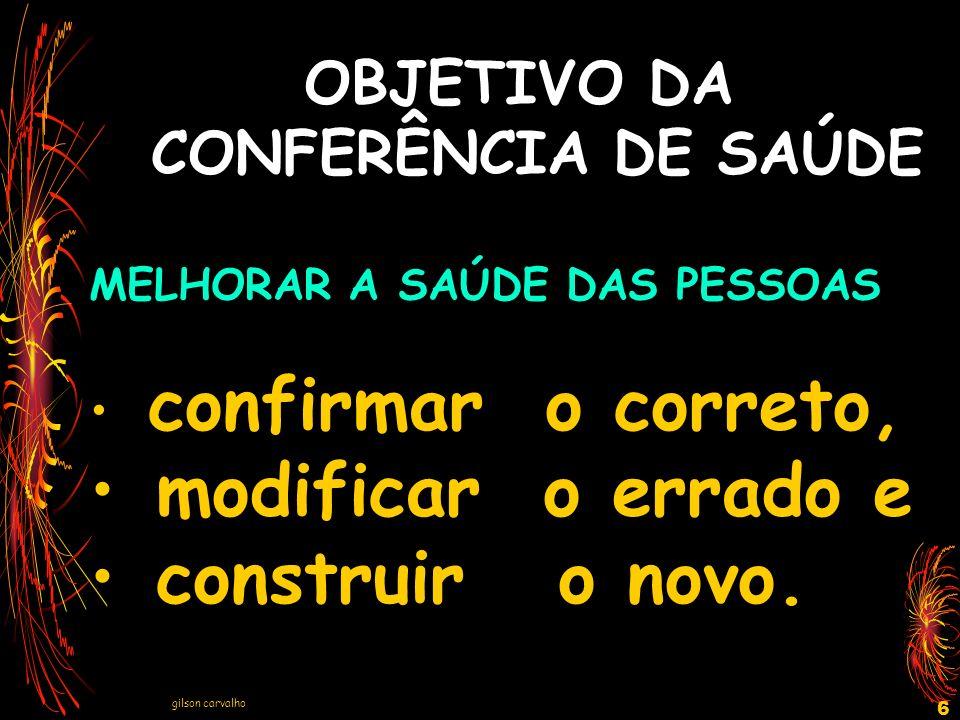 OBJETIVO DA CONFERÊNCIA DE SAÚDE
