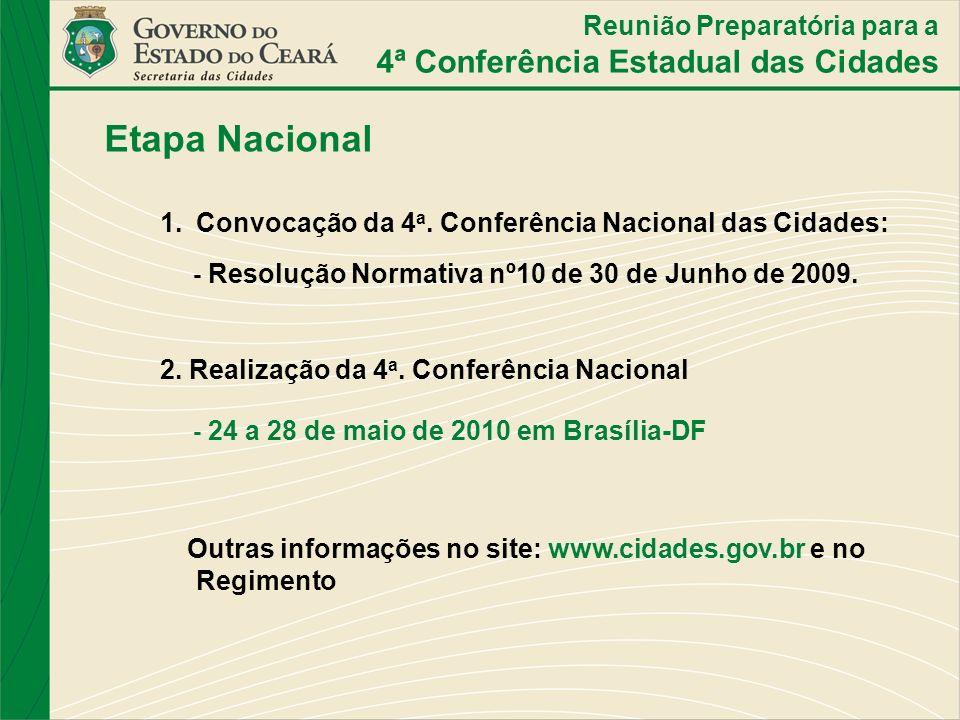 Etapa Nacional 4ª Conferência Estadual das Cidades