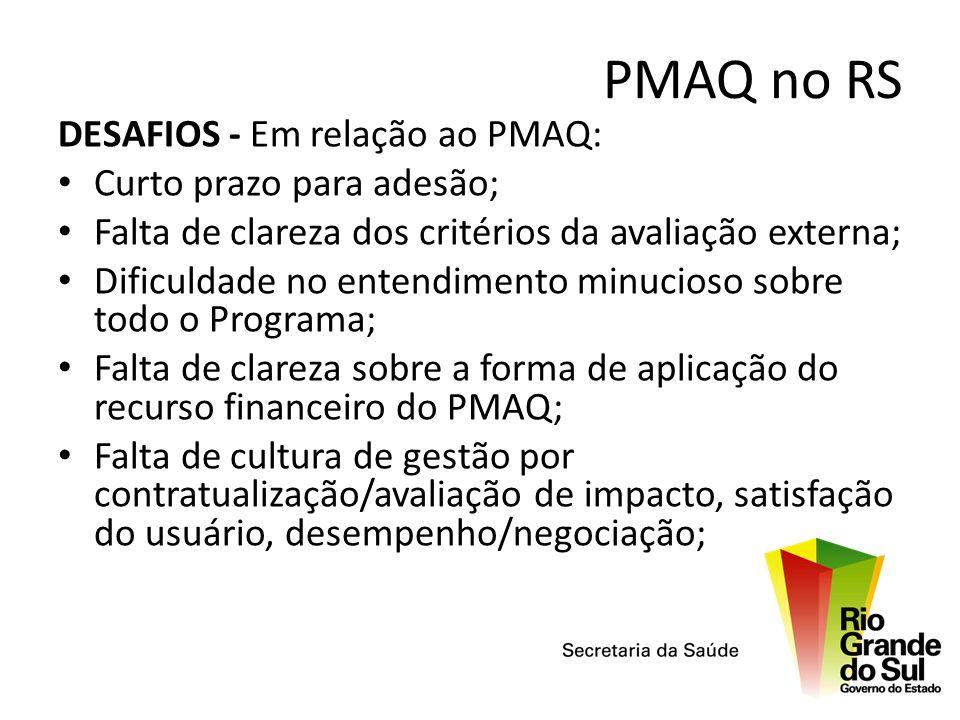 PMAQ no RS DESAFIOS - Em relação ao PMAQ: Curto prazo para adesão;