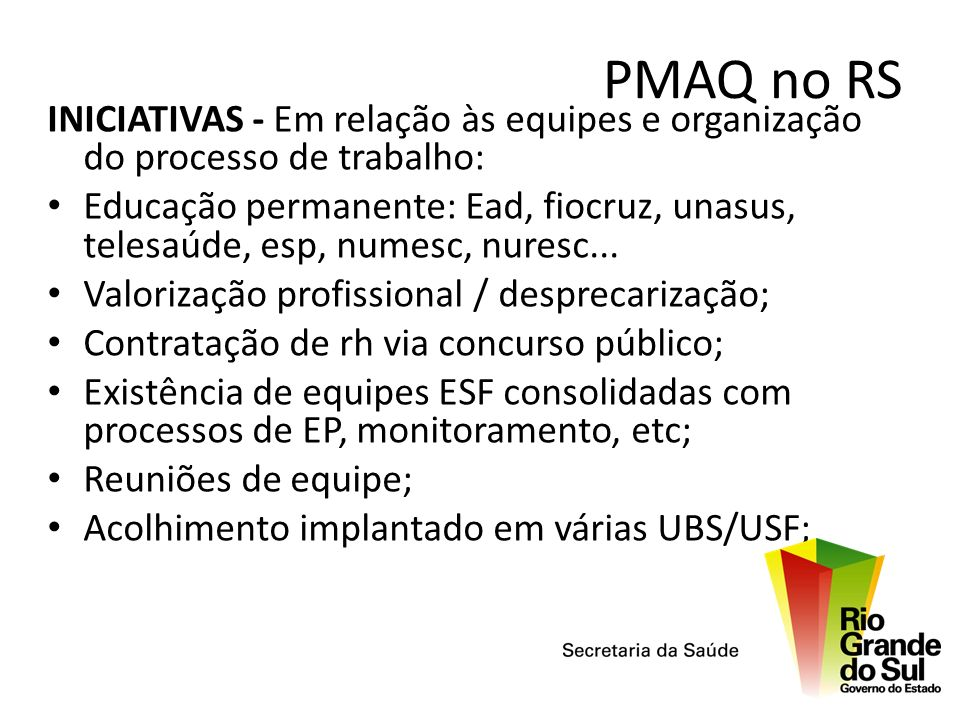 PMAQ no RSINICIATIVAS - Em relação às equipes e organização do processo de trabalho: