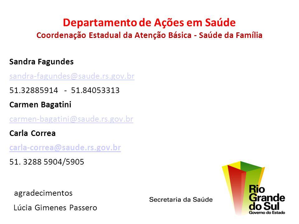 Departamento de Ações em Saúde Coordenação Estadual da Atenção Básica - Saúde da Família