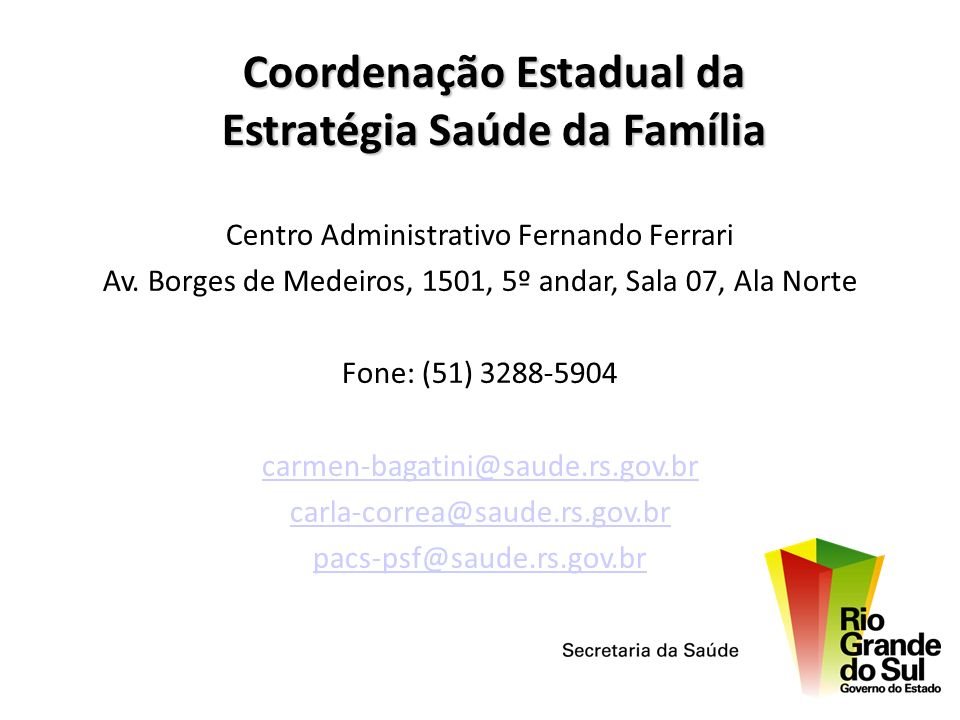 Coordenação Estadual da Estratégia Saúde da Família