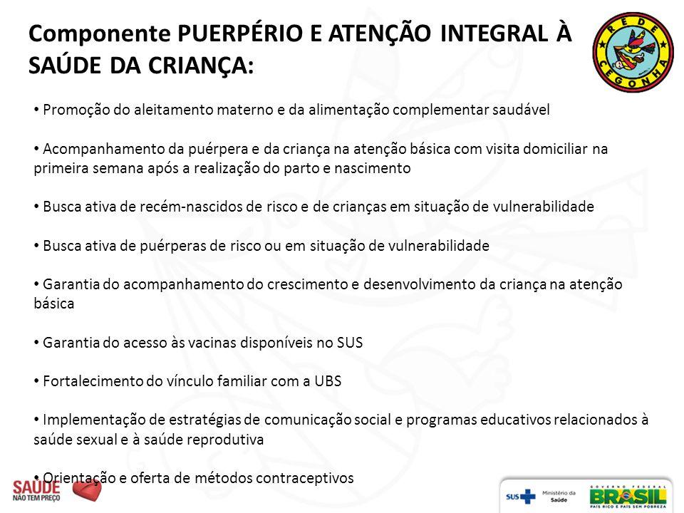 Componente PUERPÉRIO E ATENÇÃO INTEGRAL À SAÚDE DA CRIANÇA:
