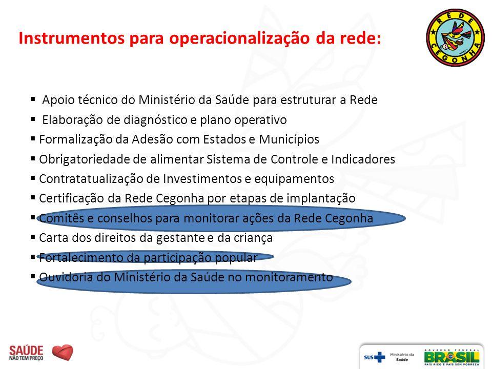 Instrumentos para operacionalização da rede: