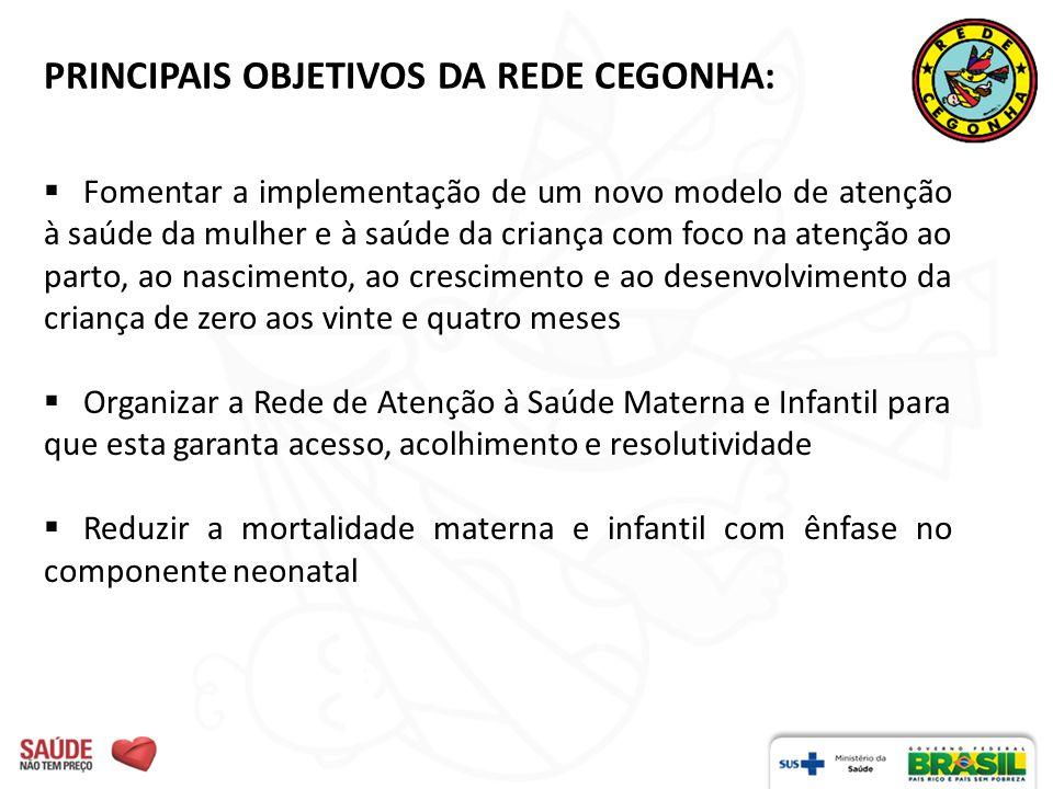 PRINCIPAIS OBJETIVOS DA REDE CEGONHA: