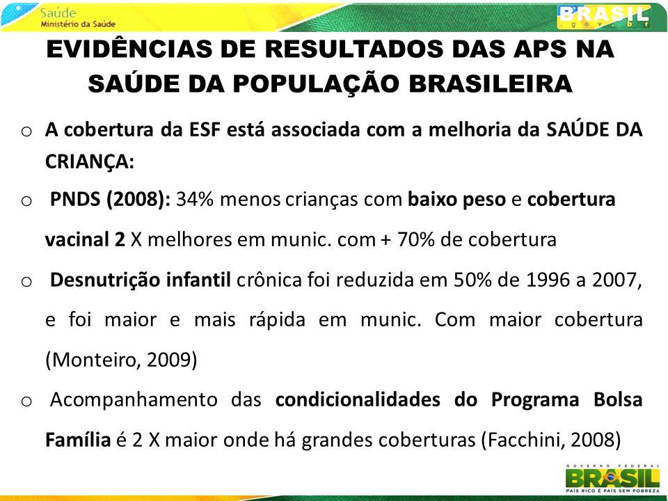 EVIDÊNCIAS DE RESULTADOS DAS APS NA SAÚDE DA POPULAÇÃO BRASILEIRA
