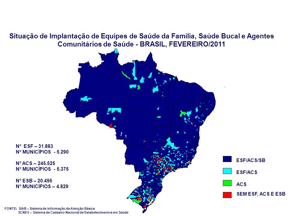 Situação de Implantação de Equipes de Saúde da Família, Saúde Bucal e Agentes Comunitários de Saúde - BRASIL, FEVEREIRO/2011