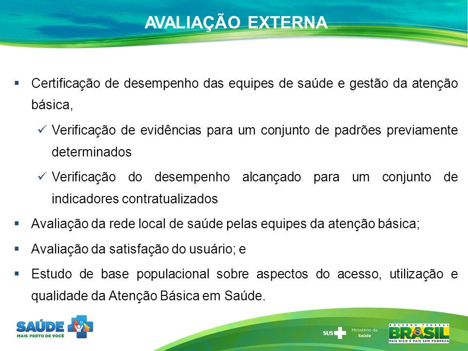 AVALIAÇÃO EXTERNA Certificação de desempenho das equipes de saúde e gestão da atenção básica,