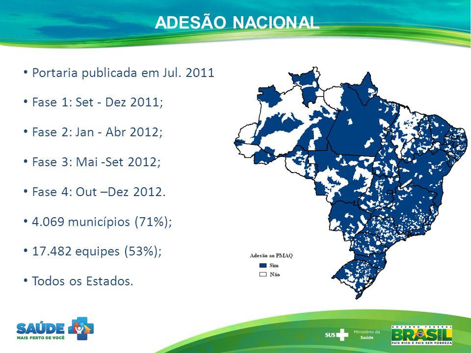 ADESÃO NACIONAL Portaria publicada em Jul. 2011