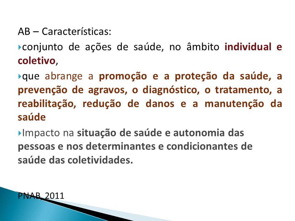 AB – Características: conjunto de ações de saúde, no âmbito individual e coletivo,