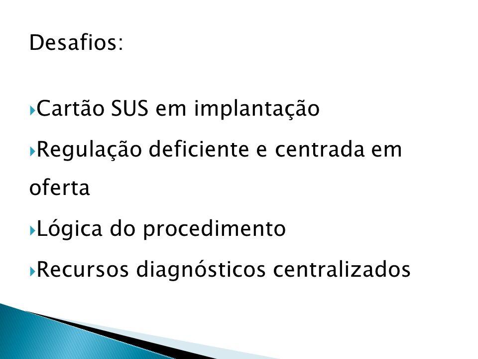 Desafios: Cartão SUS em implantação. Regulação deficiente e centrada em oferta. Lógica do procedimento.