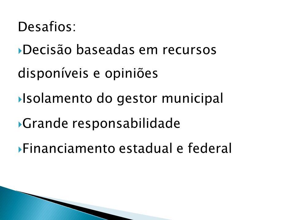 Desafios: Decisão baseadas em recursos disponíveis e opiniões. Isolamento do gestor municipal. Grande responsabilidade.