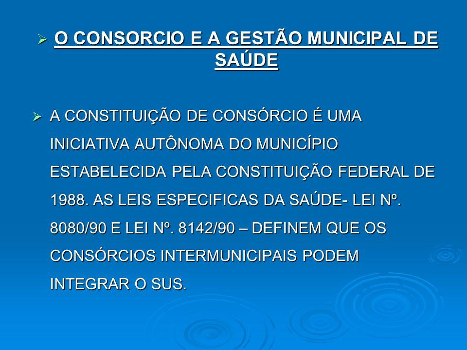 O CONSORCIO E A GESTÃO MUNICIPAL DE SAÚDE