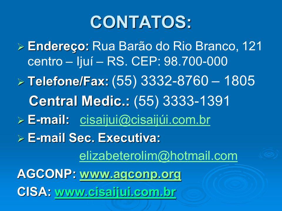 CONTATOS: Central Medic.: (55) 3333-1391