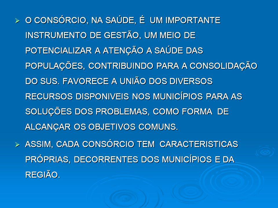 O CONSÓRCIO, NA SAÚDE, É UM IMPORTANTE INSTRUMENTO DE GESTÃO, UM MEIO DE POTENCIALIZAR A ATENÇÃO A SAÚDE DAS POPULAÇÕES, CONTRIBUINDO PARA A CONSOLIDAÇÃO DO SUS. FAVORECE A UNIÃO DOS DIVERSOS RECURSOS DISPONIVEIS NOS MUNICÍPIOS PARA AS SOLUÇÕES DOS PROBLEMAS, COMO FORMA DE ALCANÇAR OS OBJETIVOS COMUNS.