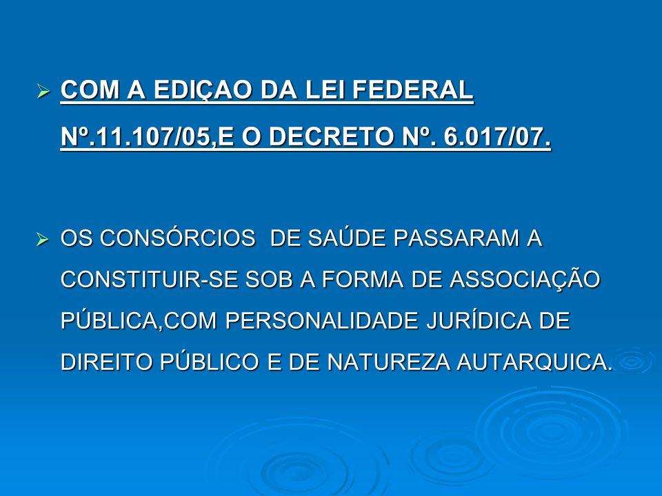 COM A EDIÇAO DA LEI FEDERAL Nº.11.107/05,E O DECRETO Nº. 6.017/07.