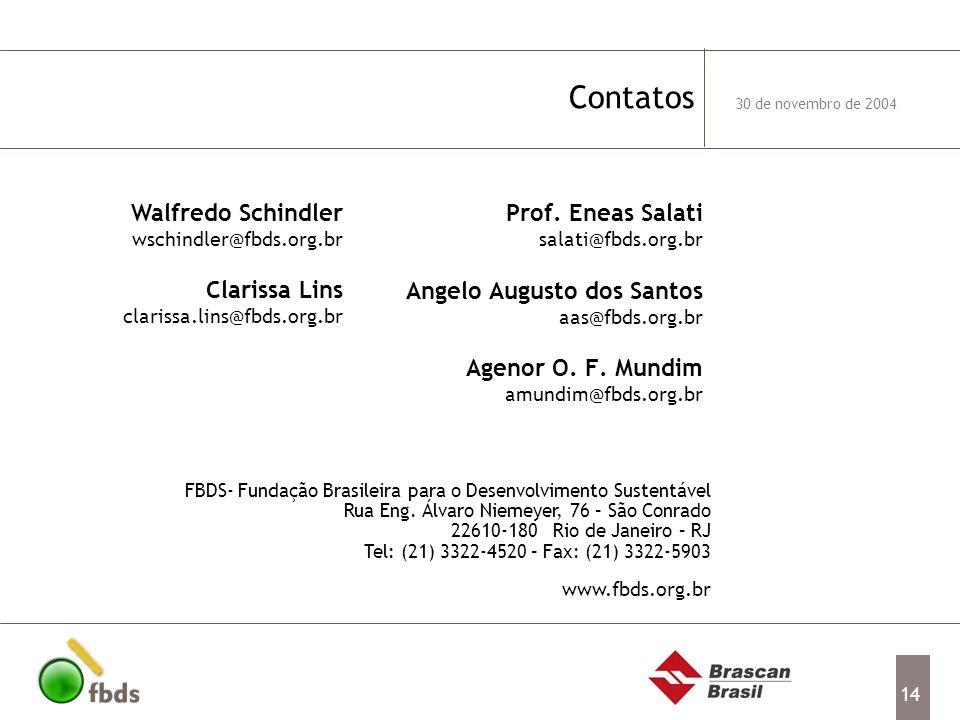 Contatos Walfredo Schindler wschindler@fbds.org.br