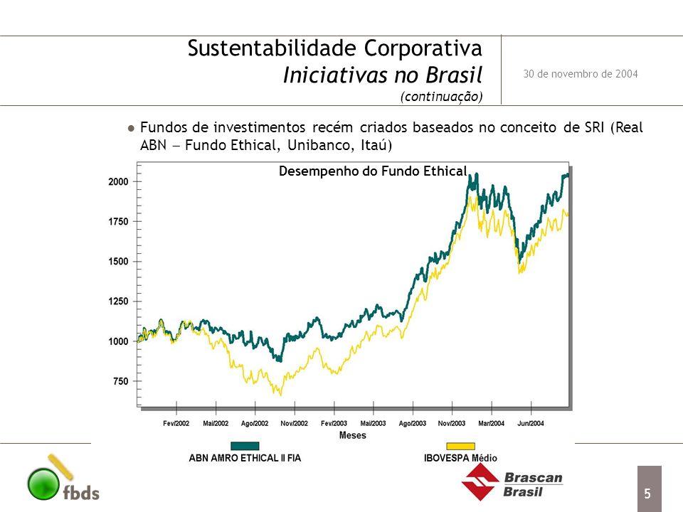 Sustentabilidade Corporativa Iniciativas no Brasil (continuação)