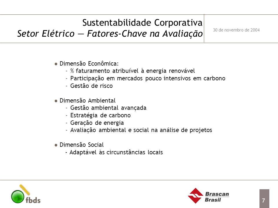 Sustentabilidade Corporativa Setor Elétrico — Fatores-Chave na Avaliação