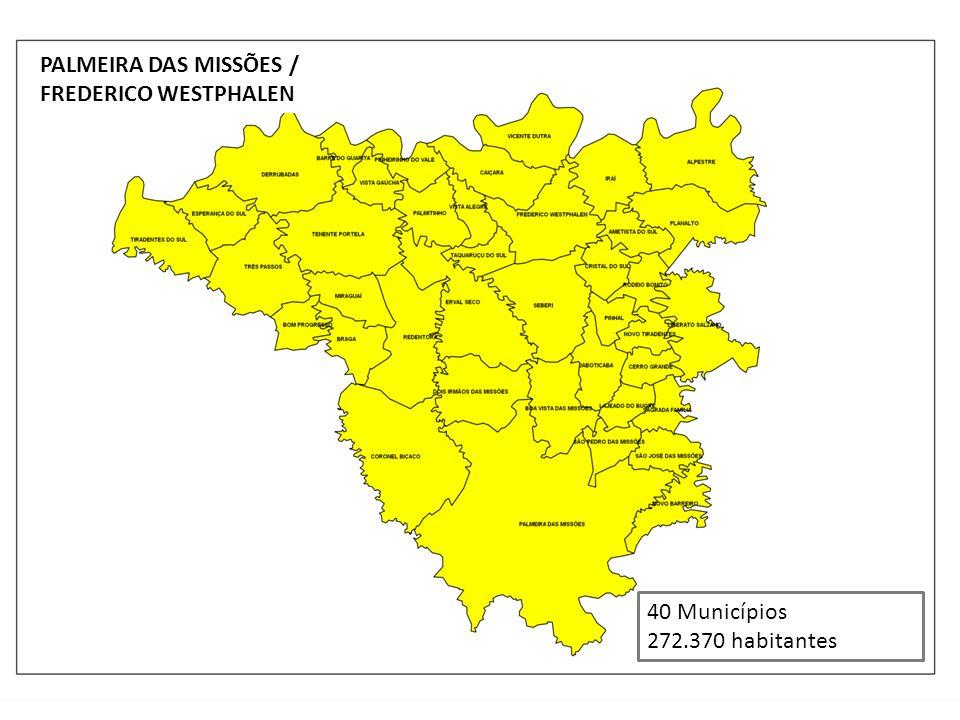 PALMEIRA DAS MISSÕES / FREDERICO WESTPHALEN 40 Municípios 272.370 habitantes