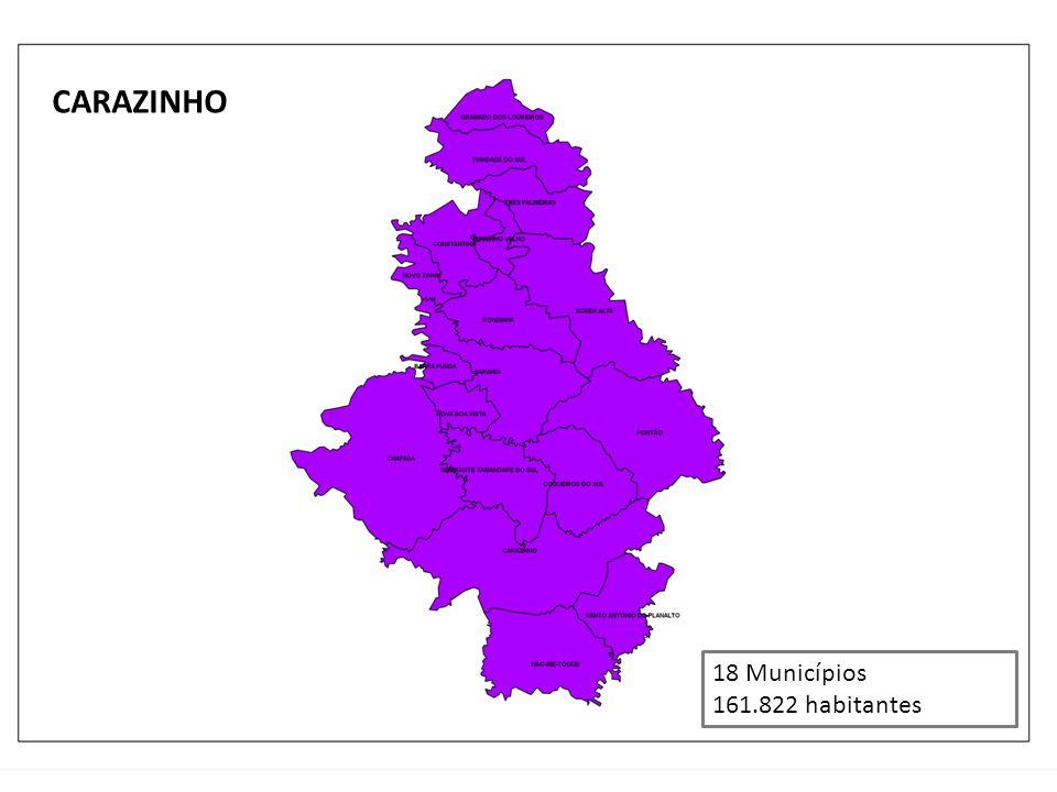 CARAZINHO 18 Municípios 161.822 habitantes
