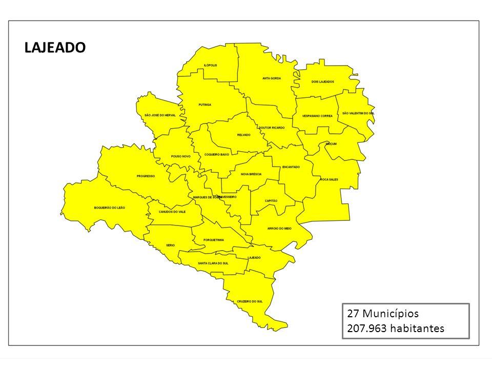 LAJEADO 27 Municípios 207.963 habitantes