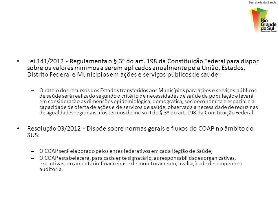 Lei 141/2012 - Regulamenta o § 3o do art