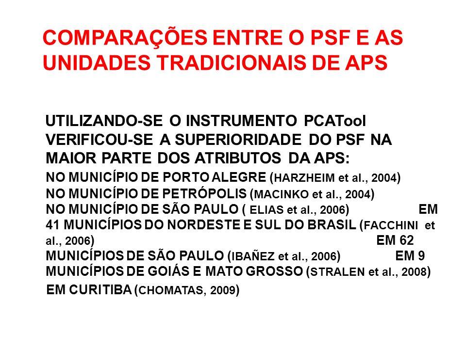 COMPARAÇÕES ENTRE O PSF E AS UNIDADES TRADICIONAIS DE APS