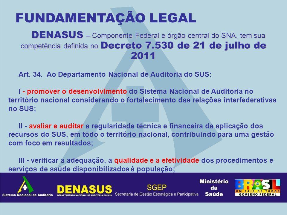 FUNDAMENTAÇÃO LEGAL DENASUS – Componente Federal e órgão central do SNA, tem sua competência definida no Decreto 7.530 de 21 de julho de 2011.