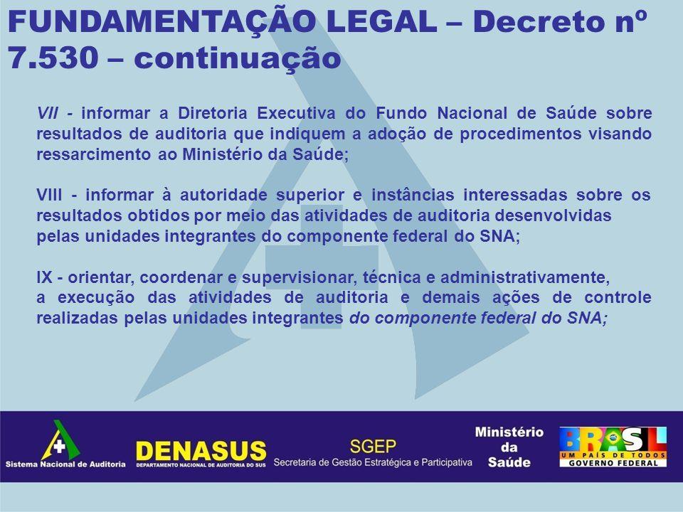 FUNDAMENTAÇÃO LEGAL – Decreto nº 7.530 – continuação