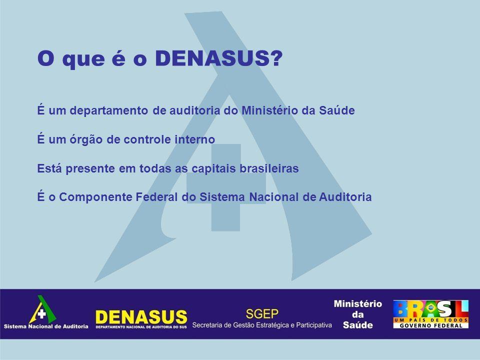 O que é o DENASUS É um departamento de auditoria do Ministério da Saúde. É um órgão de controle interno.