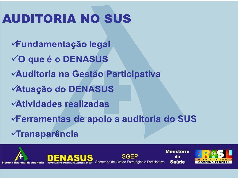 AUDITORIA NO SUS Fundamentação legal O que é o DENASUS