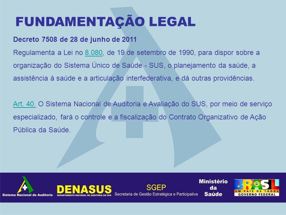 FUNDAMENTAÇÃO LEGAL Decreto 7508 de 28 de junho de 2011