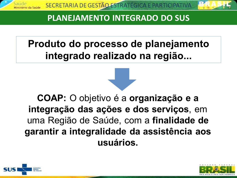 Produto do processo de planejamento integrado realizado na região...