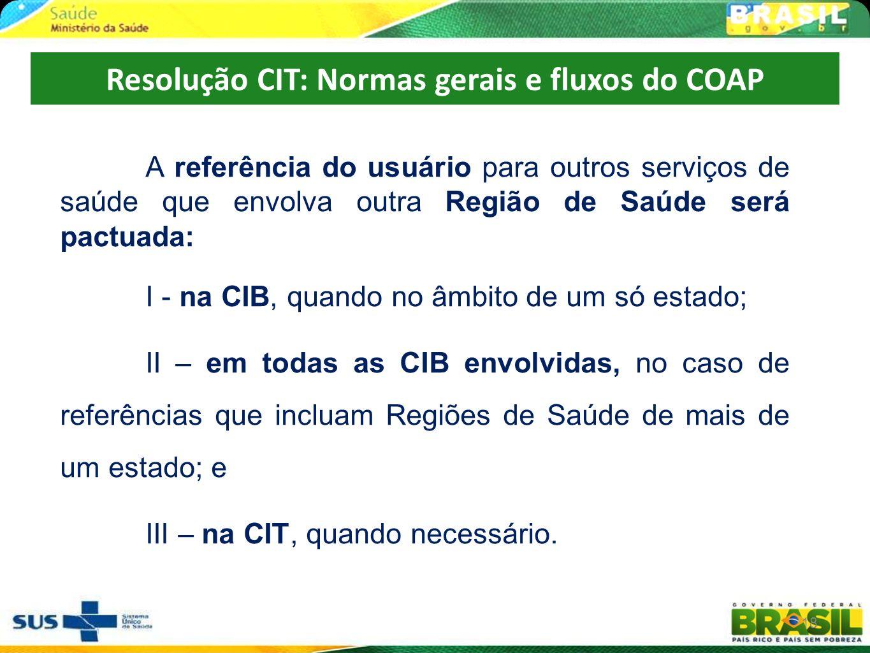Resolução CIT: Normas gerais e fluxos do COAP