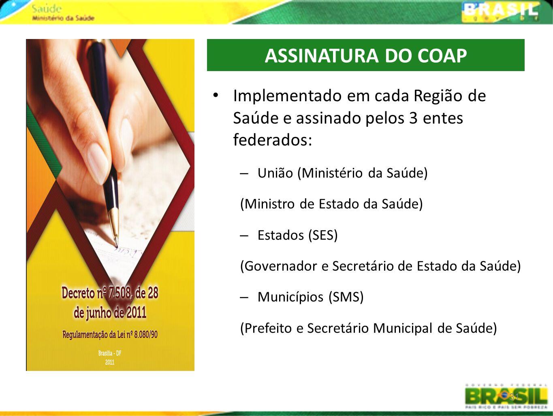 ASSINATURA DO COAP Implementado em cada Região de Saúde e assinado pelos 3 entes federados: União (Ministério da Saúde)