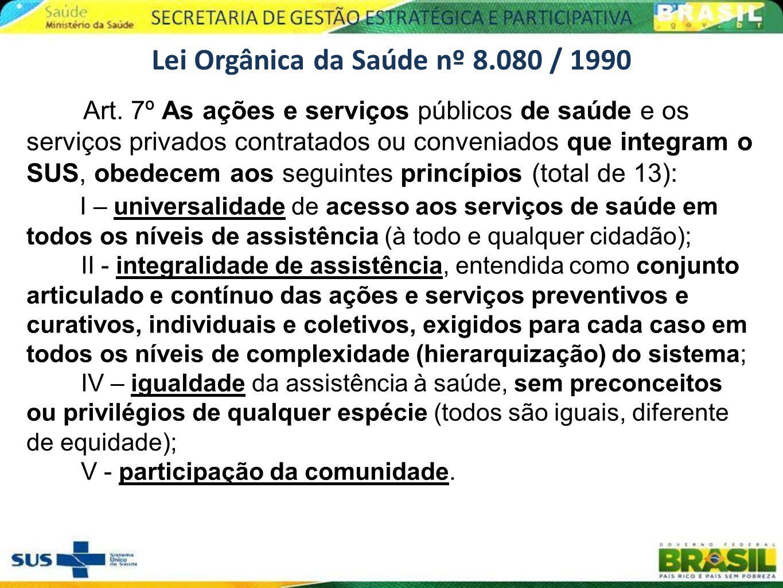 Lei Orgânica da Saúde nº 8.080 / 1990