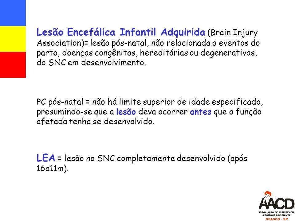LEA = lesão no SNC completamente desenvolvido (após 16a11m).